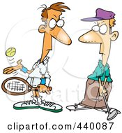 Royalty Free RF Clip Art Illustration Of A Cartoon Tennis Player Glaring At A Golfer by toonaday