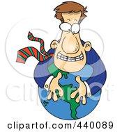 Royalty Free RF Clip Art Illustration Of A Cartoon Businessman Hugging A Globe