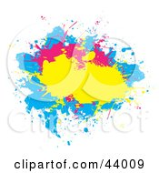Clipart Illustration Of A Splatter Of Yellow Pink And Blue On A White Background