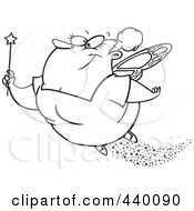 Royalty Free RF Clip Art Illustration Of A Cartoon Black And White Outline Design Of A Fairy Godmother Flying by toonaday