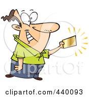 Royalty Free RF Clip Art Illustration Of A Cartoon Businessman Holding A Golden Ticket