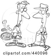 Royalty Free RF Clip Art Illustration Of A Cartoon Black And White Outline Design Of A Tennis Player Glaring At A Golfer