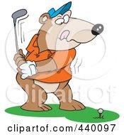 Royalty Free RF Clip Art Illustration Of A Cartoon Golfing Bear