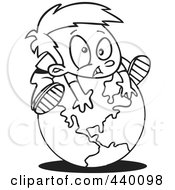 Royalty Free RF Clip Art Illustration Of A Cartoon Black And White Outline Design Of A Boy On Top Of A Globe