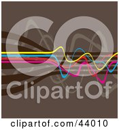 Clipart Illustration Of Yellow Blue Pink And Brown Squiggly Lines On A Brown Background