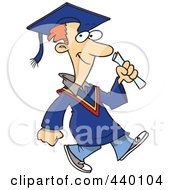 Royalty Free RF Clip Art Illustration Of A Cartoon Graduate Man Walking by toonaday
