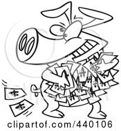 Royalty Free RF Clip Art Illustration Of A Cartoon Black And White Outline Design Of A Greedy Pig With Money