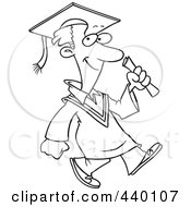 Royalty Free RF Clip Art Illustration Of A Cartoon Black And White Outline Design Of A Graduate Man Walking by toonaday