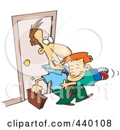 Royalty Free RF Clip Art Illustration Of A Cartoon Boy Jumping On His Dad When He Arrives Home by toonaday