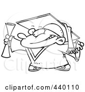 Royalty Free RF Clip Art Illustration Of A Cartoon Black And White Outline Design Of A Graduate Boy Holding His Certificate by toonaday