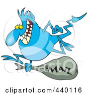Cartoon Blue Gremlin With An Email Bag