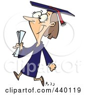 Royalty Free RF Clip Art Illustration Of A Cartoon Female College Graduate Walking by toonaday