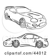 Clipart Illustration Of Black And White Sketches Of Two Sports Cars On White by Arena Creative