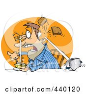 Royalty Free RF Clip Art Illustration Of A Cartoon Man Squirting His Eye With Grapefruit And A Toaster Hitting Him With Toast by toonaday