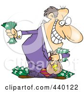 Royalty Free RF Clip Art Illustration Of A Cartoon Greedy Rich Businessman Holding His Money by toonaday