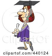 Royalty Free RF Clip Art Illustration Of A Cartoon Female College Graduate With A Rose In Her Mouth by toonaday