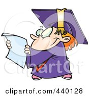 Royalty Free RF Clip Art Illustration Of A Cartoon Graduate Kid Reading A Certificate by toonaday
