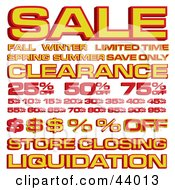 Clipart Illustration Of A Collage Of Retail Sales Prices And Text