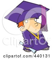 Royalty Free RF Clip Art Illustration Of A Cartoon Shy Graduate Boy by toonaday