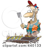 Cartoon Man Cooking On A Griddle Over A Camp Fire