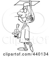 Royalty Free RF Clip Art Illustration Of A Cartoon Black And White Outline Design Of A Female College Graduate With A Rose In Her Mouth by toonaday