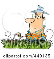 Royalty Free RF Clip Art Illustration Of A Cartoon Man Mowing Tall Grass by toonaday