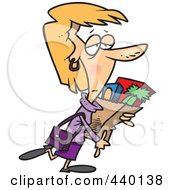 Royalty Free RF Clip Art Illustration Of A Cartoon Tired Woman Carrying A Bag Of Groceries