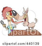 Royalty Free RF Clip Art Illustration Of A Cartoon Dog Licking His Groomer by Ron Leishman