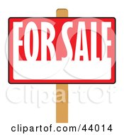 Clipart Illustration Of A Red And White For Sale Sign On A Post