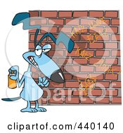 Royalty Free RF Clip Art Illustration Of A Cartoon Dog Spray Painting Graffiti
