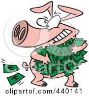 Royalty Free RF Clip Art Illustration Of A Cartoon Greedy Pig With Money
