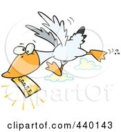 Royalty Free RF Clip Art Illustration Of A Cartoon Goose Flying With A Golden Ticket by toonaday