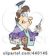 Royalty Free RF Clip Art Illustration Of A Cartoon Grim Nurse Holding A Syringe And Hammer