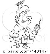 Cartoon Black And White Outline Design Of A Grim Nurse Holding A Syringe And Hammer