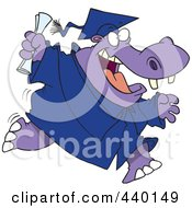 Royalty Free RF Clip Art Illustration Of A Cartoon Hippo Graduate Running by toonaday