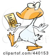 Royalty Free RF Clip Art Illustration Of A Cartoon Goose Walking With A Golden Ticket by toonaday