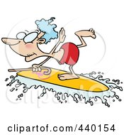 Royalty Free RF Clip Art Illustration Of A Cartoon Black And White Outline Design Of A Granny Surfing With Her Cane