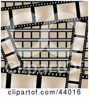 Clipart Illustration Of A Background Of Beige And Black Film Strips by Arena Creative #COLLC44016-0094