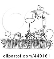 Royalty Free RF Clip Art Illustration Of A Cartoon Black And White Outline Design Of A Man Mowing Tall Grass by toonaday