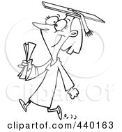 Royalty Free RF Clip Art Illustration Of A Cartoon Black And White Outline Design Of A Female College Graduate Walking by toonaday