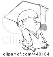 Royalty Free RF Clip Art Illustration Of A Cartoon Black And White Outline Design Of A Shy Graduate Boy by toonaday