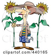 Royalty Free RF Clip Art Illustration Of A Cartoon Green Thumb Woman In Her Sunflower Gardener by toonaday