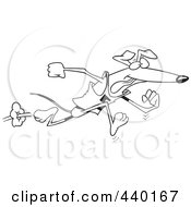 Royalty Free RF Clip Art Illustration Of A Cartoon Black And White Outline Design Of A Greyhound Dog Running Upright