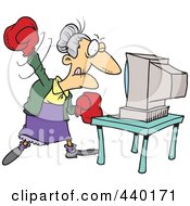 Royalty Free RF Clip Art Illustration Of A Cartoon Mad Granny Beating A Computer With Boxing Gloves by toonaday