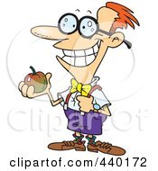 Royalty Free RF Clip Art Illustration Of A Cartoon Nerdy School Boy Holding An Apple by toonaday