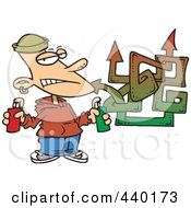 Royalty Free RF Clip Art Illustration Of A Cartoon Punk Boy Spray Painting Graffiti