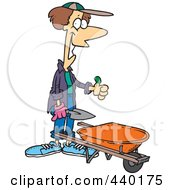 Royalty Free RF Clip Art Illustration Of A Cartoon Green Thumb Gardener With A Wheel Barrow by toonaday