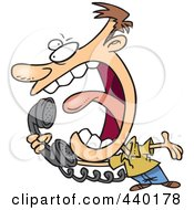 Royalty Free RF Clip Art Illustration Of A Cartoon Man Screaming Into A Telephone by toonaday