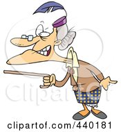 Royalty Free RF Clip Art Illustration Of A Cartoon Mad Granny Waving Her Cane by toonaday
