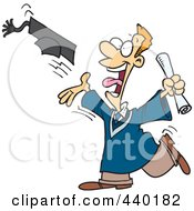 Royalty Free RF Clip Art Illustration Of A Cartoon Male Graduate Tossing His Cap by toonaday